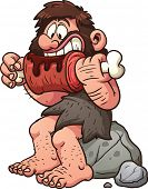 Cartoon caveman eating meat. Vector clip art illustration with simple gradients. All in a single layer.