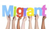 Multiethnic Arms Raised Holding Text Migrant