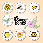 Vector stickers sweet honey