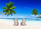 stock photo of samoa  - Couple relaxing on the beach - JPG