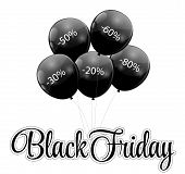 Black Friday Sale Icon with Balloons Vector Illustration