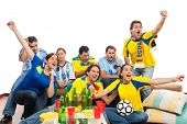 World Cup: Group of friends celebrating soccer match