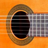 Fretboard And Sound Hole Of Acoustic Guitar