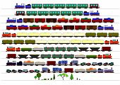 stock photo of wagon  - Toy train cartoon baby equipment and cars - JPG