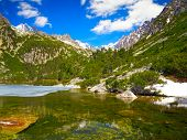 Popradske pleso. Mountain lake in National Park High Tatras