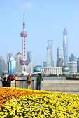 SHANGHAI, CHINA - APRIL 14, 2014: View of Pudong New Area from the Bund waterfront