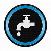 Chrome tap with a water drop icon