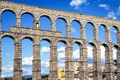 picture of aqueduct  - view of the aqueduct of Segovia Castilla Leon Spain - JPG