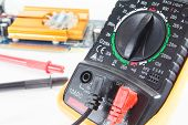 picture of ohm  - Digital multimeter isolate on a white background - JPG