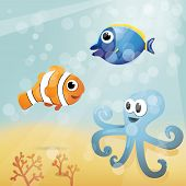 pic of octopus  - Underwater cartoon illustration with clownfish - JPG