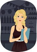 Illustration of a Girl Holding a Clipboard Planning for a Party