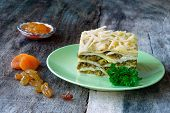South African bobotie dish layered with pancakes