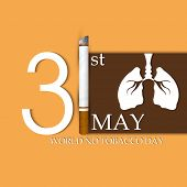 Poster, banner or flyer design for World No Tobacco Day with stylish text, burning cigarette and hum