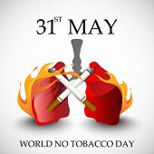 Poster, banner or flyer design for World No Tobacco Day with human lungs in fire and cigarette on gr