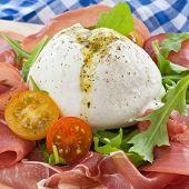 Mozzarella, Smoked Ham And Fresh Tomatoes