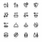 Fast Food And Junk Food Flat Icons With Reflection