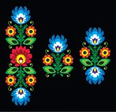 Folk embroidery with flowers - traditional Polish pattern Wzory Lowickie