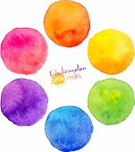 stock photo of violet  - Rainbow watercolor vector circle bacgrounds for your designs - JPG