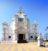 India. Goa. Catholic church at hill top