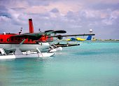 Maldives. A seaplane at a mooring at ocean