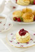 foto of devonshire  - English Cream tea scene with scones Devonshire style on china plate with teacup and saucer - JPG