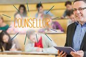 The word counsellor against lecturer standing in front of his class in lecture hall