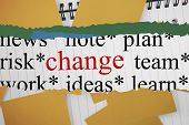 The word change against yellow paper strewn over notepad