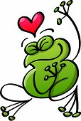 Green frog full of joy while in love