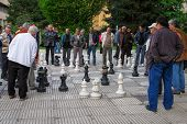 BOSNIA AND HERZEGOVINA, SARAJEVO - MAY 07, 2009: Chess Players in Sarajevo. Street Chess is one of the popular local custom in Bosnia and Herzegovina