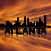 Atlanta skyline reflected with text and sunset illustration