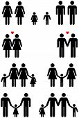 picture of same sex  - Family icons of same sex couples in black and white graphic style - JPG
