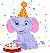 Illustration of very cute baby elephant Birthday