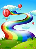 Illustration of a rainbow and floating balloons in the sky