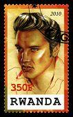 Elvis Presley Postage Stamp From Rwanda