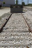 industrial train rails, detail of railways in Spain