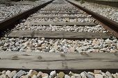 train rails, detail of railways in Spain