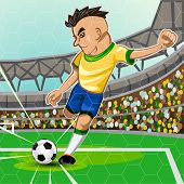 foto of brasilia  - Brazilian Soccer Player Take A Penalty Kick In Front Of Goalkeeper Area - JPG