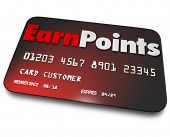 picture of plastic money  - Earn Points words plastic credit card rewards program - JPG