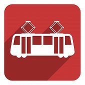 image of tram  - tram flat icon - JPG