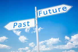 image of past future  - An image of a typical road sign arrow past future - JPG