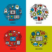 Flat Line Icons Set Of Science, Ecology, Medicine, Education. Creative Design Elements For Websites,