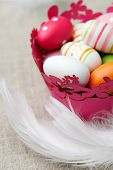 Bunch of white eggs with colorful decorations