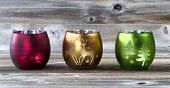 Bright Candle Cup Holders On Aged Wood