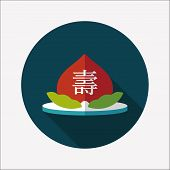 Chinese New Year Peaches Of Immortality Flat Icon With Long Shadow,eps10, Peaches Of Immortality Is
