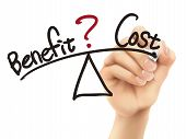 Balance Between Benefit And Cost Written By 3D Hand