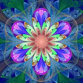 Symmetrical Pattern In Stained-glass Window Style. Blue, Purple And Green Palette. Computer Generate