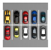 stock photo of ten  - parking with ten cars a top view - JPG