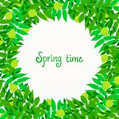 Spring card background with wreath of leaves
