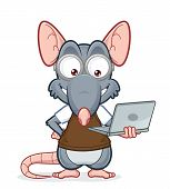 Rat holding a laptop