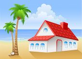 foto of beach-house  - Summer beach with cottage and palm - JPG